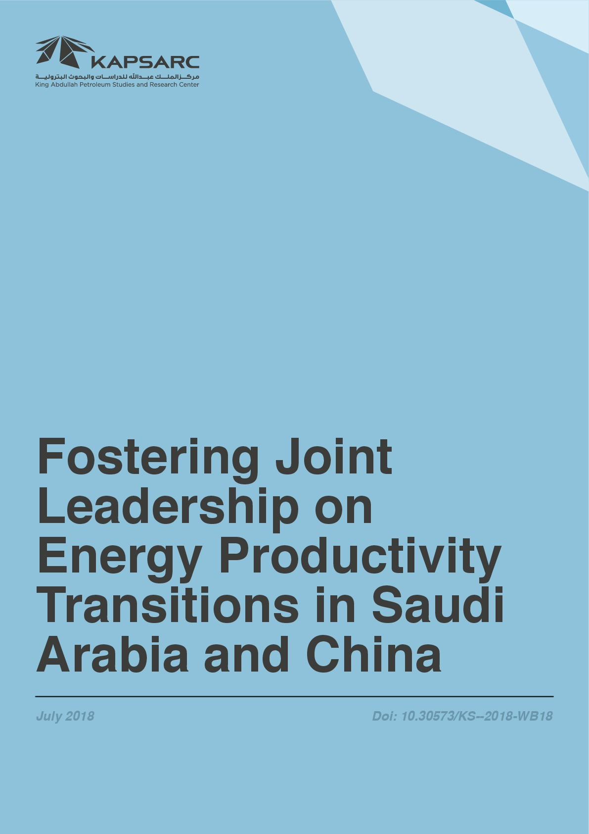 Fostering Joint Leadership on Energy Productivity Transitions in Saudi Arabia and China