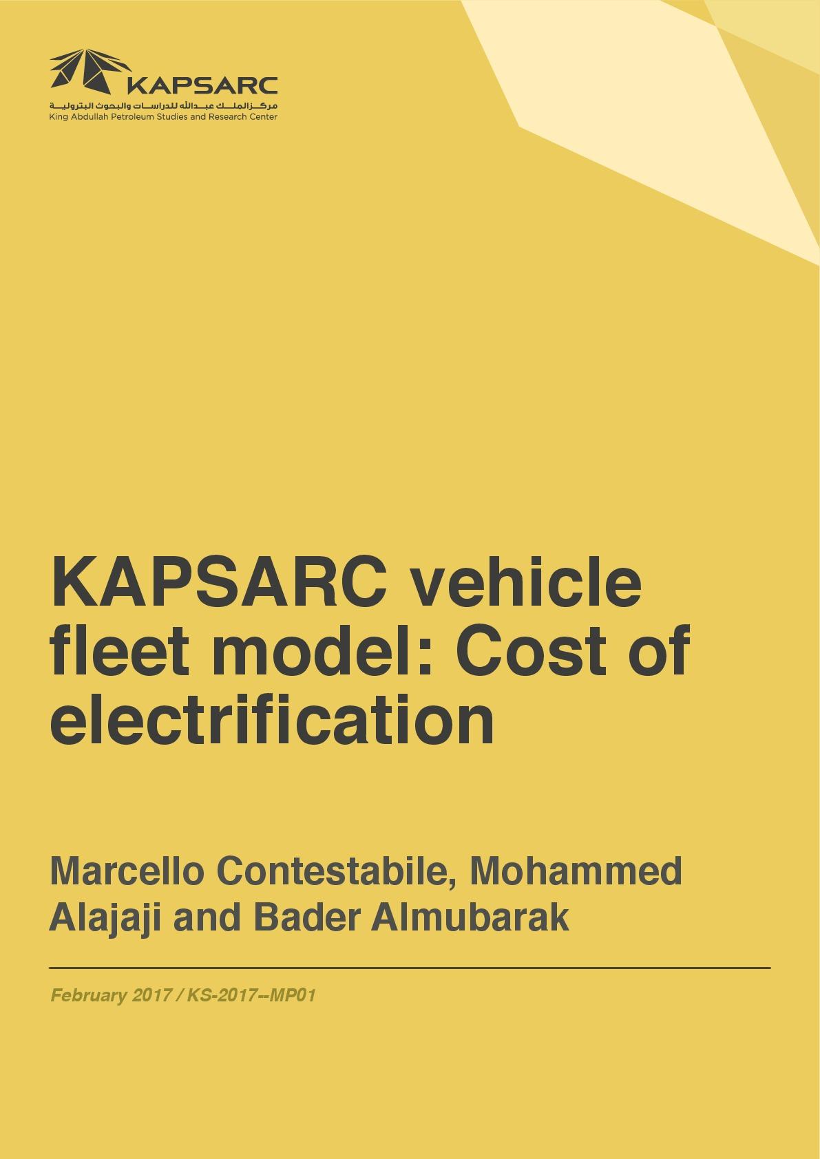 KAPSARC vehicle fleet model: Cost of electrification