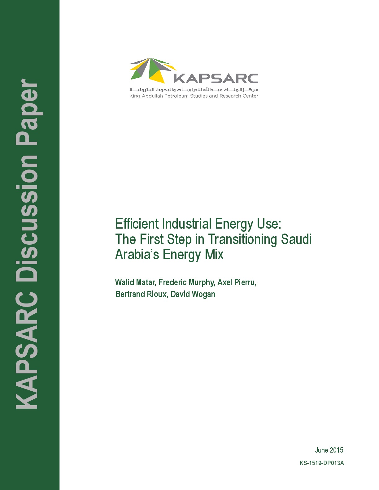Efficient Industrial Energy Use: The First Step in Transitioning Saudi Arabia's Energy Mix