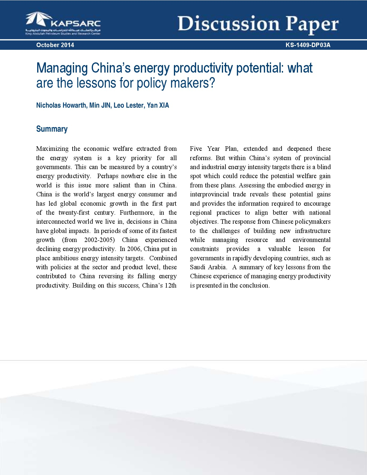 Managing China's energy productivity potential: what lessons for policy makers