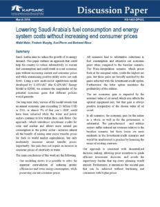 Lowering Saudi Arabia's fuel consumption and energy system costs without increasing end consumer prices