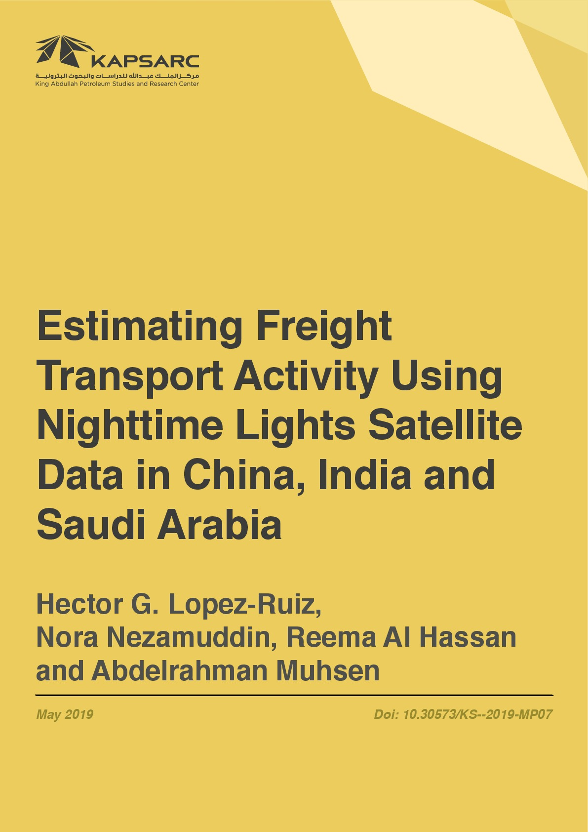 Estimating Freight Transport Activity Using Nighttime Lights Satellite Data in China, India and Saudi Arabia