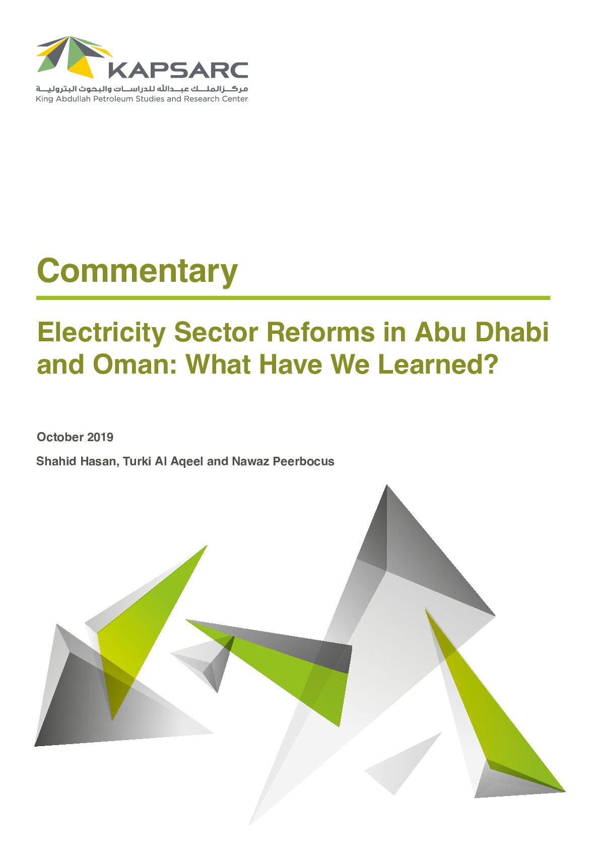 Electricity Sector Reforms in Abu Dhabi and Oman: What Have We Learned?