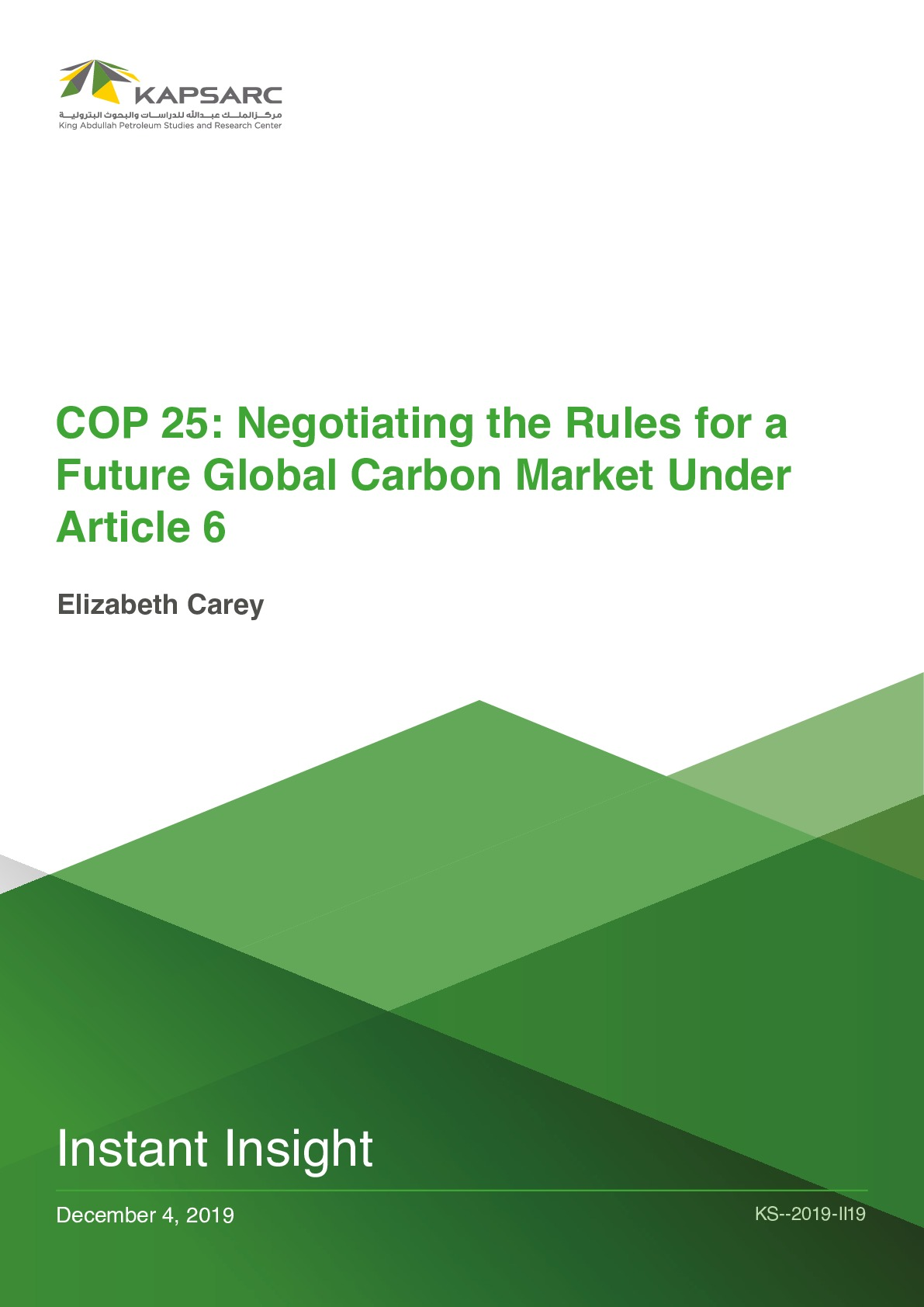COP 25: Negotiating the Rules for a Future Global Carbon Market Under Article 6