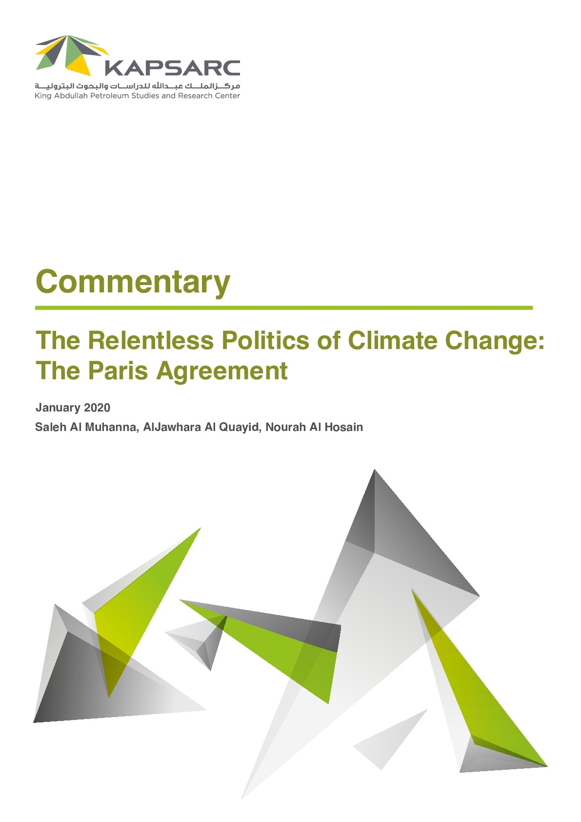The Relentless Politics of Climate Change: The Paris Agreement