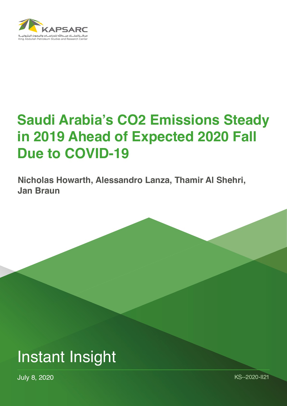 Saudi Arabia's CO2 Emissions Steady in 2019 Ahead of Expected 2020 Fall Due to COVID-19