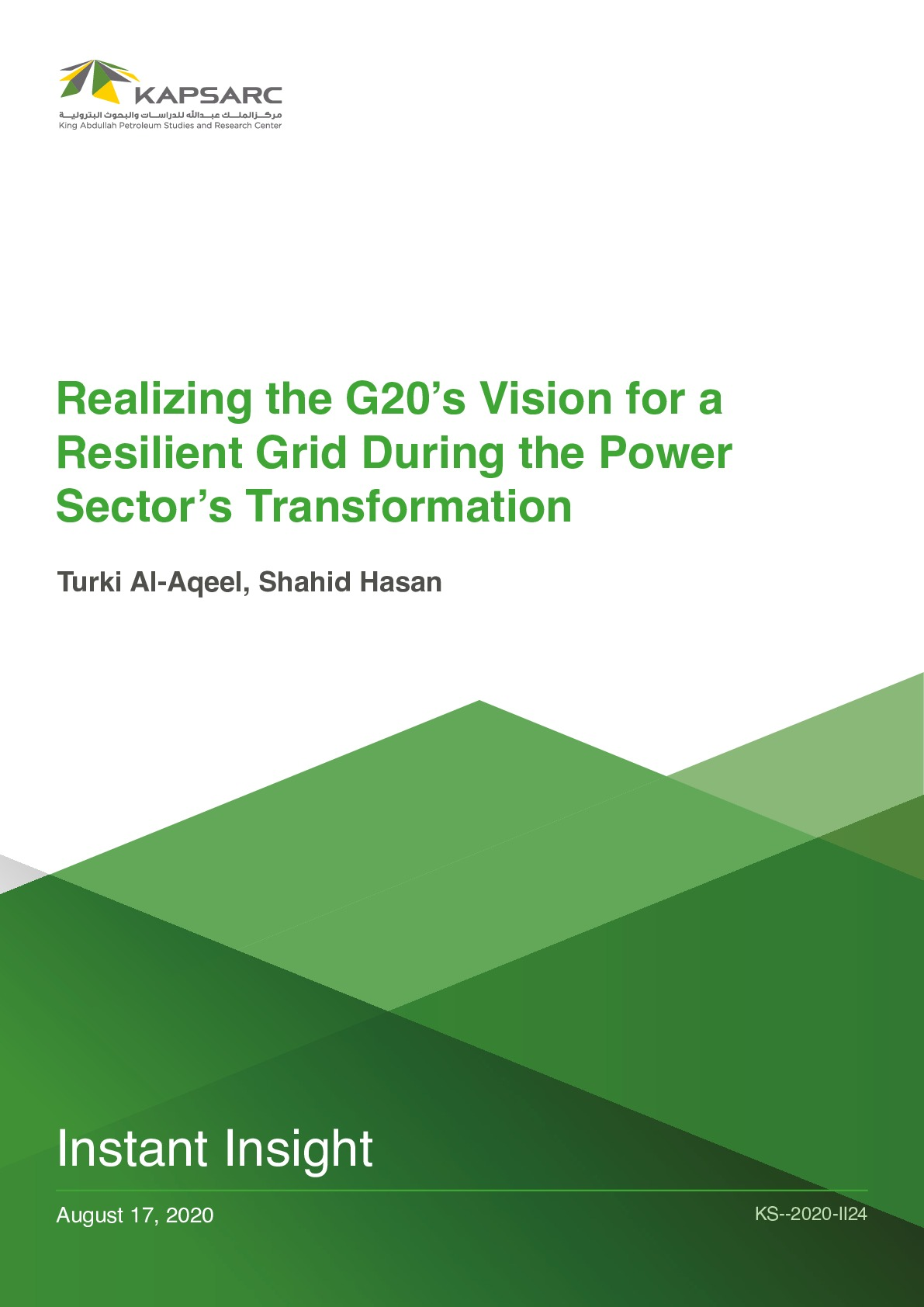 Realizing the G20's Vision for a Resilient Grid During the Power Sector's Transformation