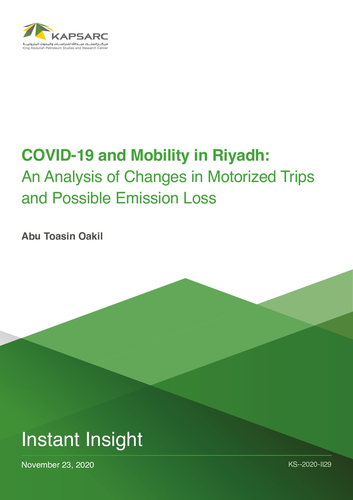 COVID-19 and Mobility in Riyadh: An Analysis of Changes in Motorized Trips and Possible Emission Loss