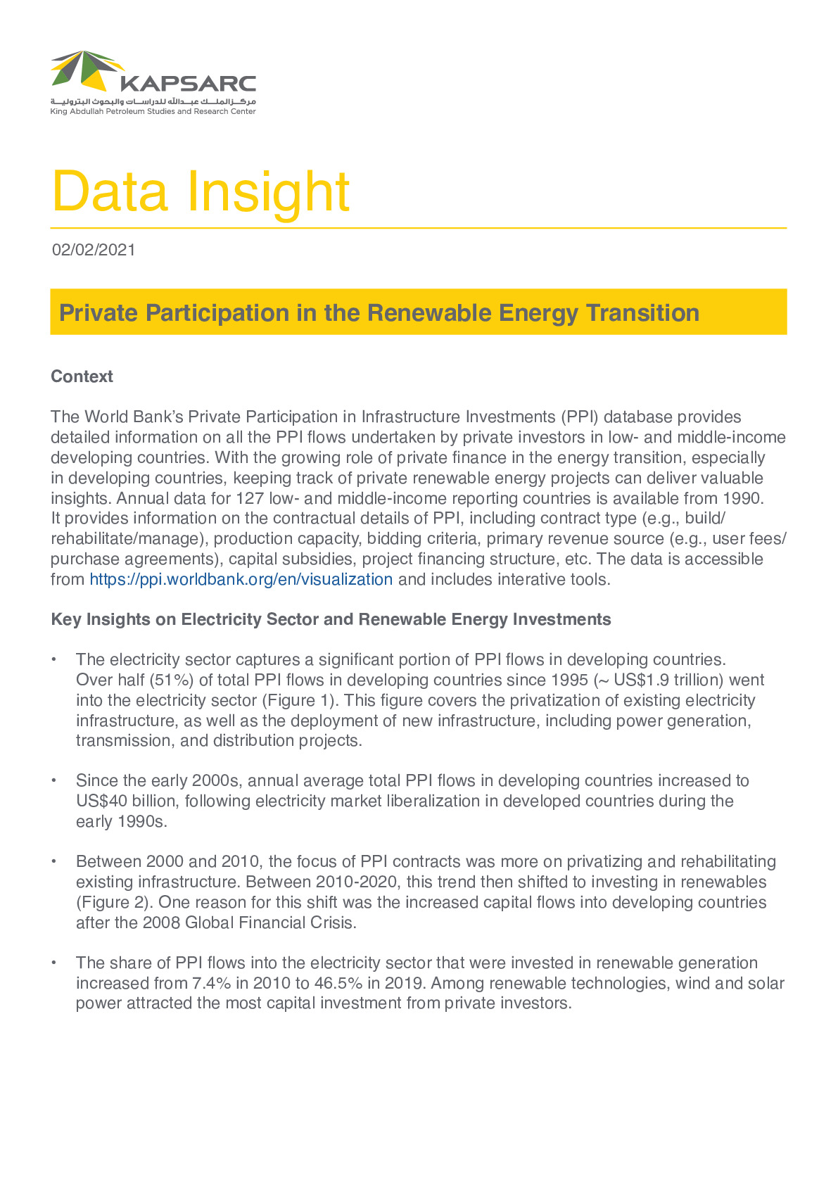 Private Participation in the Renewable Energy Transition
