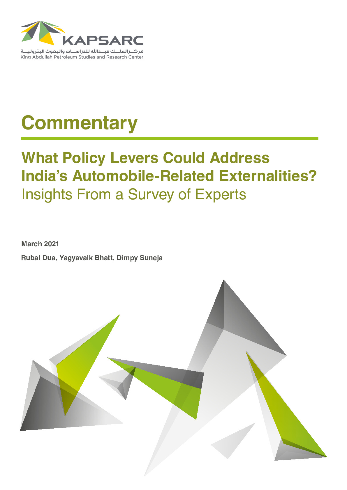 What Policy Levers Could Address India's Automobile-Related Externalities?