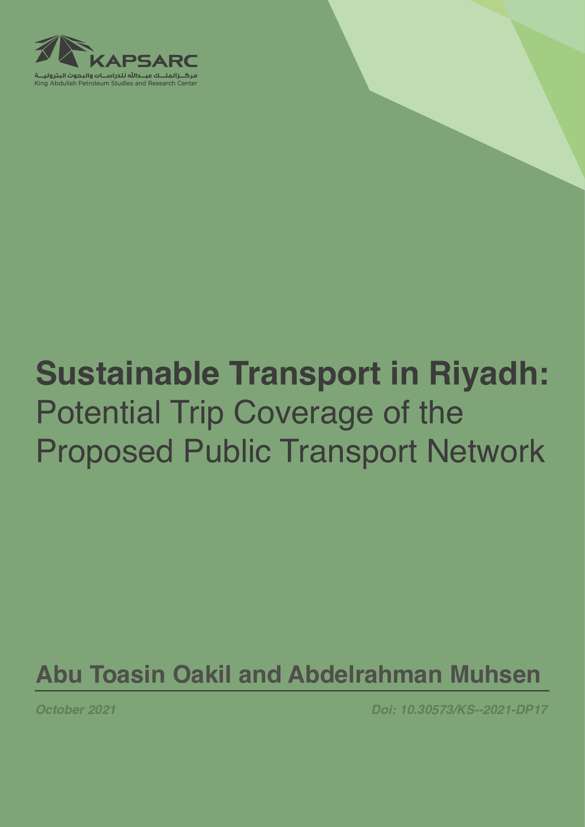 Sustainable Transport in Riyadh: Potential Trip Coverage of the Proposed Public Transport Network